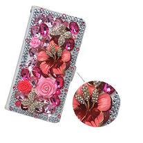 Spritech PU Leather Wallet Case 3D Handmade Shining Pink