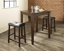 3-Piece Pub Dining Set with 2 Tapered Leg Upholstered Stools