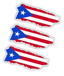 Puerto Rico Flag Map Hard Hat Sticker / Decal / Label Tool