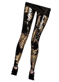 Panegy Punk Metallic Shiny Snake Print Skin Pattern Leggings