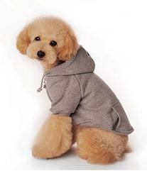 Puppy Dog Sweaters with Pocket Pets Warm Hooded Coat Grey -