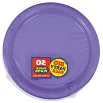 """Amscan Amscan New Purple Big Party Pack 9""""  Dinner Plates ,"""