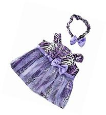 Purple Leopard Dress with Headband Teddy Bear Clothes Outfit