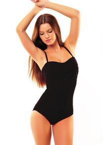 Push Up Bandeau Swimsuit  black,size 10