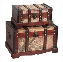 Quickway Imports QI003037.2 Old World Map Wooden Trunk Set