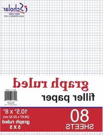 iScholar Quad Filler Paper, 5 Squares per Inch, 10.5 x 8