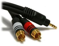 Quality 35 feet Shielded 3.5mm Stereo Y Adapter to 2 Rca's
