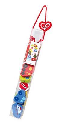 Hape Qubes Lacing Vehicles Toddler Wooden Block Playset