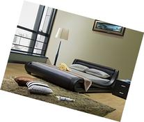 Greatime Queen Size Contemporary, Black Leatherette Bed with