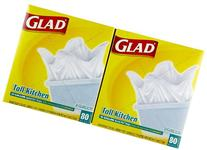 Glad Quick-Tie Tall Kitchen Trash Bags, White - 13 gal - 80