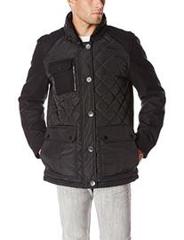Vince Camuto Men's Quilted Mixed Media Jacket, Black, Small