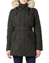 London Fog Quilted Parka With Fur Trim
