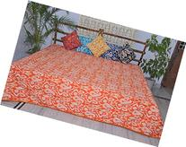 Quilts King Size Ikat Orange Cotton Comforters By Kanthaa