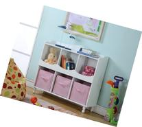 King's Brand R1014 Wood 6 Cubby Storage Cabinet with 3 Pink