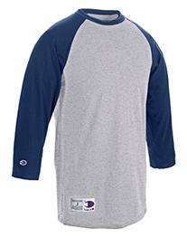 Champion 5.2 oz. Raglan Baseball T-Shirt, Large, OXF GRY/