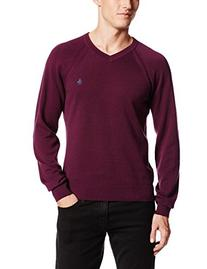 Original Penguin Men's Raglan V-Neck Sweater, Italian Plum,