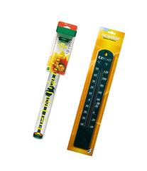 Rain Gauge with Green Thermometer - EZ Read Jumbo Lettering