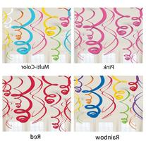 "Amscan Vivid Rainbow Plastic Swirl Decorations, 22"","