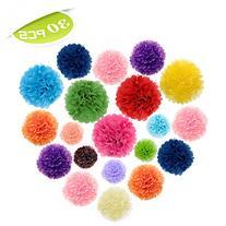 Aspire 30 Pcs Rainbow Pom Poms, Tissue Paper Flower, Mixed
