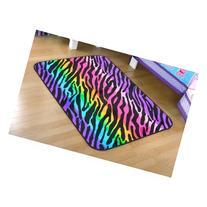 your zone rainbow zebra faux mink rectangular rug, multi-