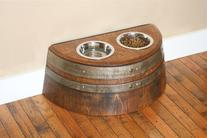Wine Barrel Creations Raised Dog or Cat Food Bowl Made From