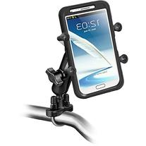 RAM MOUNTS (RAM-B-149Z-UN10U Handlebar Rail Mount with Zinc Coated U-Bolt Base and Universal X-Grip Iv Large Phone/Phablet Holder