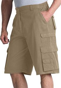 Ranger Side Elastic Cargo Shorts, Dark Khaki Big-48