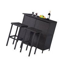 3PCS Rattan Wicker Bar Set Patio Outdoor Table & 2 Stools