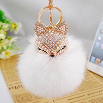 Generic Real Fox Fur Ball with Artificial Fox Head Inlay