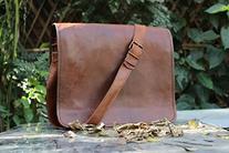 Hlc Real leather messenger laptop bag leather laptop
