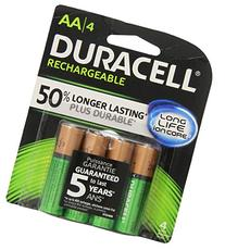 Duracell Rechargeable Long Life AA-4 Batteries in a Pack