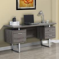 Dark Taupe Reclaimed Look Silver Metal Office Desk 60 Inch