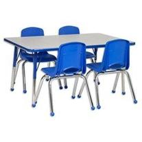 5 Piece 48 x 30 Rectangular Classroom Table and 14 Chair Set