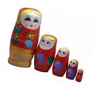 Red Set of 5 Cutie Nesting Dolls Matryoshka Madness Russian