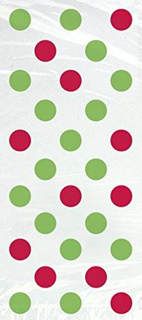 Red and Green Polka Dots Christmas Cello Bags, 20-Count
