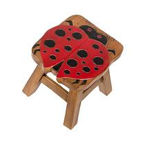 Red Ladybug Design Hand Carved Acacia Hardwood Decorative