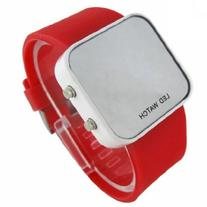 Red LED Mirror Digital Sport Watch Red Unisex for Men and