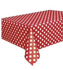 "Red Polka Dot Plastic Tablecloth, 108"" x 54"