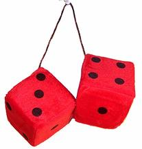 1 Pair Large Red 3 Inch Plush Fuzzy Soft Dice - Great for