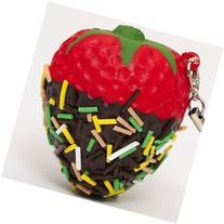 red strawberry with chocolate squishy cellphone charm by