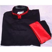 Red Trim Black Rayon Silk Mandarin Collar Kung Fu Jacket,
