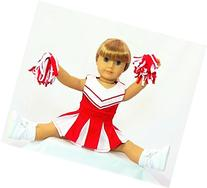 """Red and White Doll Cheerleader Outfit 