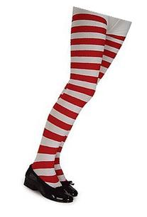 Red and White Striped Tights - Child - Large - Accessories