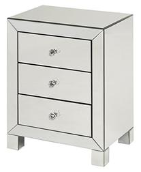 AVE SIX Reflections 3 Drawer Accent Table with Mirrored