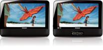 "Refurbished Philips 9"" Portable DVD Player w/ 2 Black LCD"
