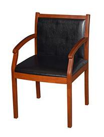 Regency Vinyl Regent Vinyl Side Guest Chair in Cherry Wood