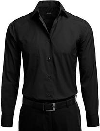IDARBI Men's Regular Fit Color Longsleeve Dress Shirt BLACK