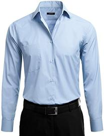 IDARBI Men's Regular Fit Color Longsleeve Dress Shirt