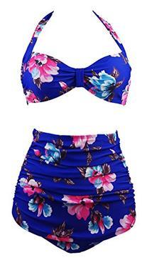Cocoship Retro 50s Blue Red Floral Vintage High Waist Bikini