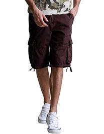 Match Men's Retro Camo Plaid Summer Polo Cargo Shorts